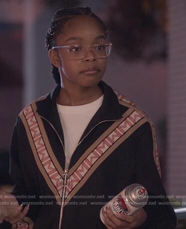 Diane's M Chevron stripe jacket and pants on Black-ish