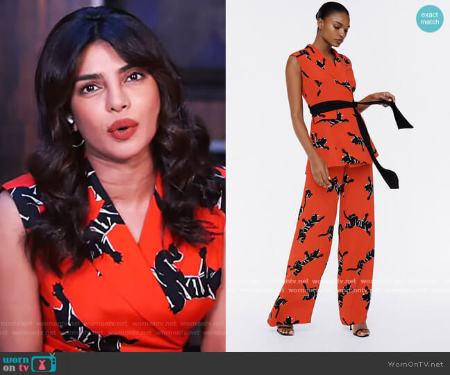 Bernice Cady-Blend Jumpsuit by Diane Von Furstenberg worn by Priyanka Chopra Jonas on The View
