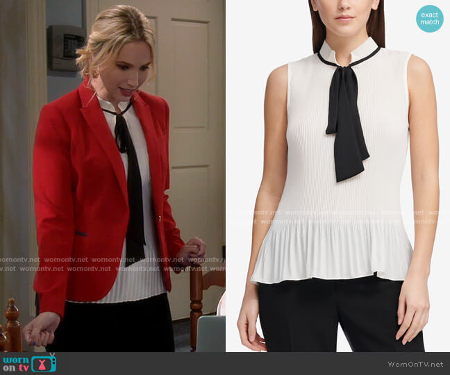 DKNY Tie-Neck Peplum Blouse worn by Mandy Baxter (Molly McCook) on Last Man Standing