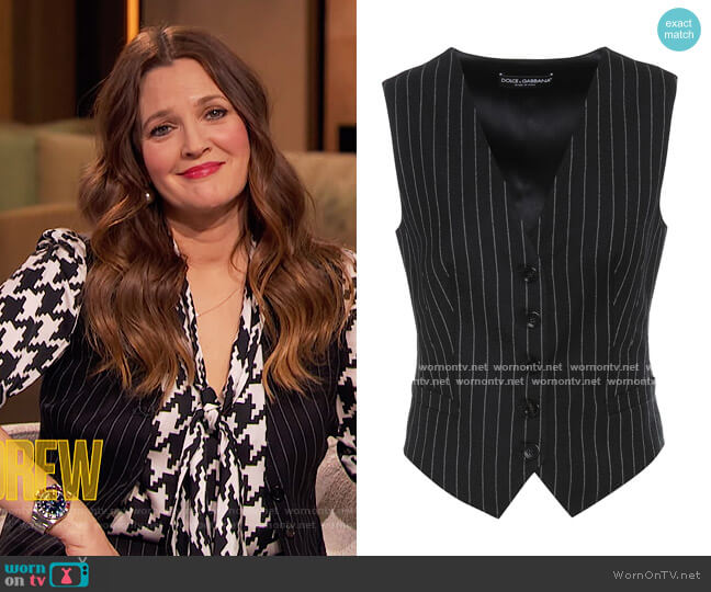Striped wool-blend Vest by Dolce and Gabbana worn by Drew Barrymore  on The Drew Barrymore Show