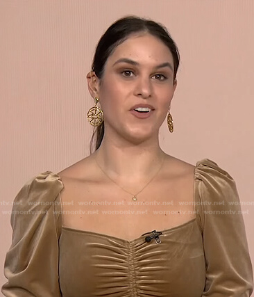 Donna Farizan's beige ruched velvet top on Today
