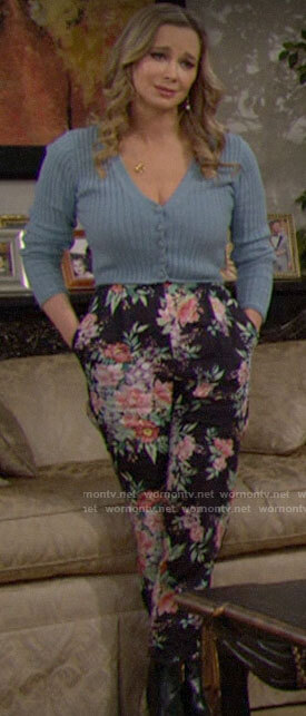 Donna's blue cropped cardigan and floral pants on The Bold and the Beautiful