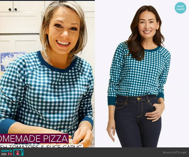Natalie Sweatshirt in Gingham by Draper James worn by Dylan Dreyer  on Today