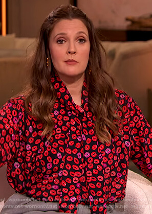 Drew's black lip print tie neck blouse on The Drew Barrymore Show