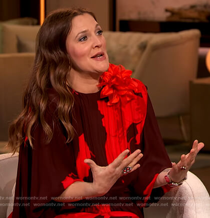 Drew's burgundy floral bell sleeve dress on The Drew Barrymore