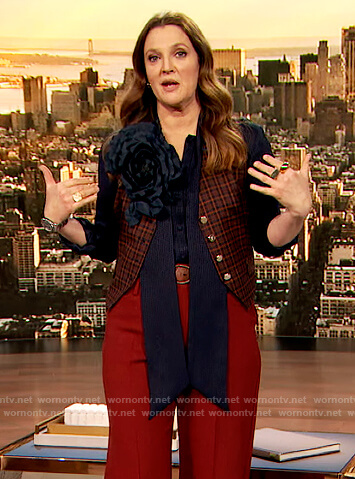 Drew's navy tie neck blouse and vest on The Drew Barrymoreshow