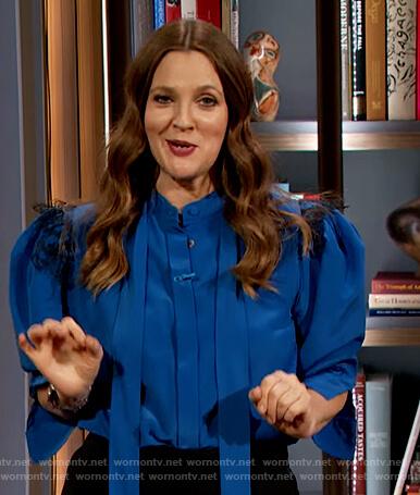 Drew's blue lace trim tie neck blouse on The Drew Barrymore Show