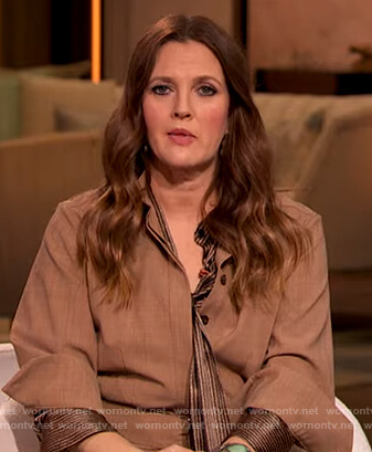 Drew's brown metallic tie blouse on The Drew Barrymore Show