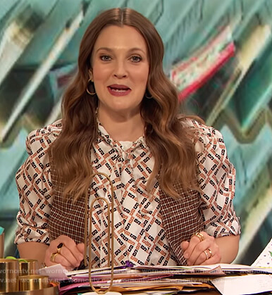 Drew's geometric tie neck blouse on The Drew Barrymore Show