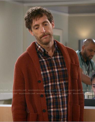 Drew's orange shawl collar cardigan on B Positive