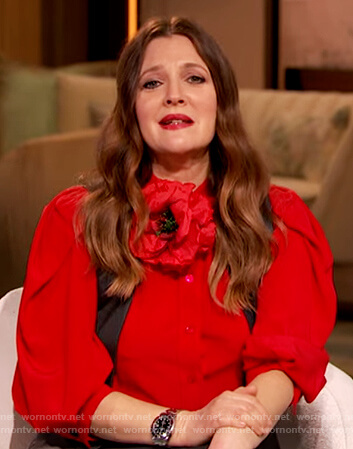 Drew's red silk button down blouse on The Drew Barrymore Show