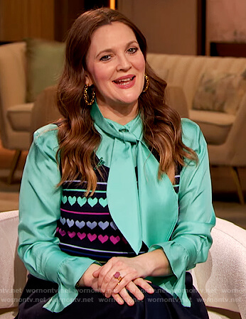 Drew's turquoise satin tie neck blouse on The Drew Barrymore Show