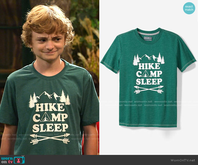 Spring Graphic T-Shirt by Eddie Bauer worn by Finn Sawyer (Will Buie Jr) on Bunkd
