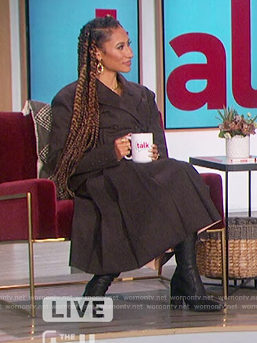 Elaine's black flannel double breasted blazer on The Talk