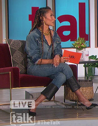 Elaine's denim leather hem jeans on The Talk