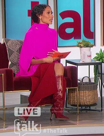 Elaine's pink tie neck blouse and red skirt on The Talk
