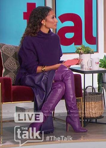 Elaine's purple turtleneck sweater and leather skirt on The Talk