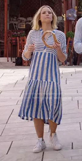 Eleanor's blue striped midi dress on The Good Place
