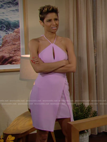 Elena's lilac pink halter neck mini dress on The Young and the Restless