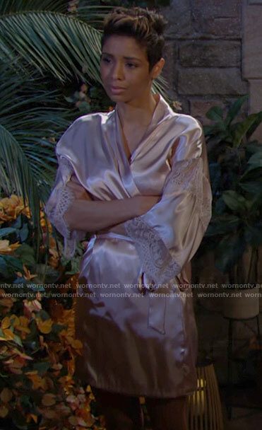 Elena's pink satin and lace robe on The Young and the Restless
