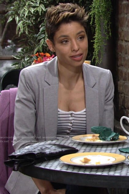 Elena's striped top and grey blazer on The Young and the Restless