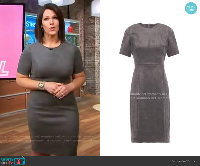 Elie Tahari Emily Faux Suede Dress worn by Dana Jacobson  on CBS This Morning