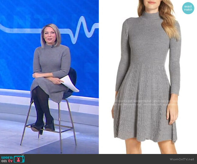 Mock Neck Fit & Flare Sweater Dress by Eliza J worn by Dylan Dreyer  on Today
