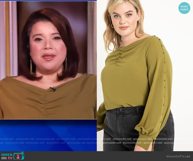 Button Sleeve Boatneck by Eloquii worn by Ana Navarro  on The View