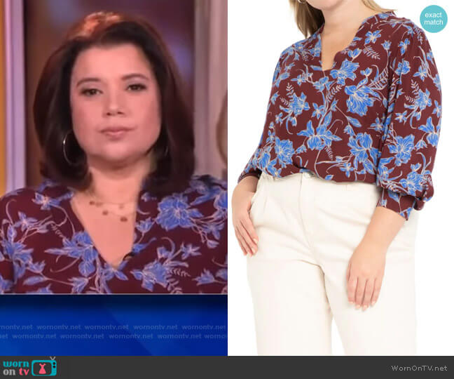 Floral Print Popover Blouse by Eloquii worn by Ana Navarro  on The View