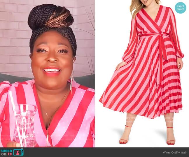 Stripe Long Sleeve Wrap Dress worn by Loni Love  on The Real