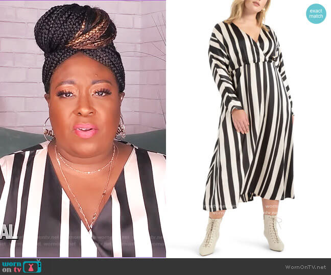 Stripe Maxi Dress by Eloquii worn by Loni Love  on The Real