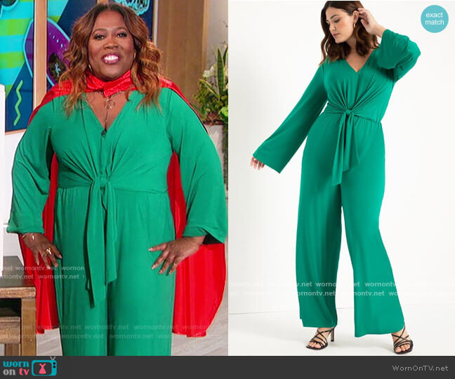 Tie Front Knit Jumpsuit by Eloquii worn by Sheryl Underwood  on The Talk