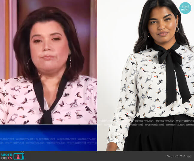 Tie Neck Blouse by Eloquii worn by Ana Navarro  on The View