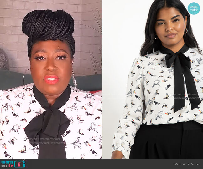 Tie Neck Blouse by Eloquii worn by Loni Love  on The Real