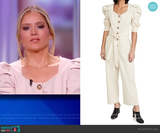 Cotton Poplin Jumpsuit with Puff Sleeves by En Saison worn by Sara Haines  on The View