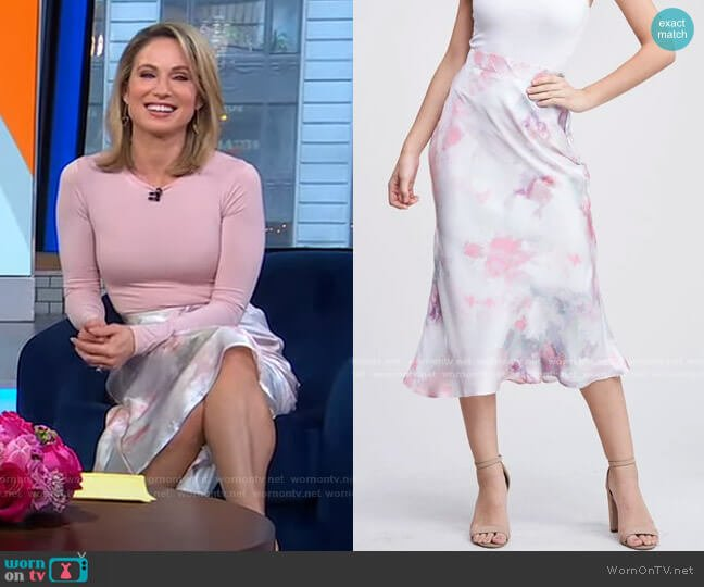 Risette Midi Skirt by En Saison worn by Amy Robach  on Good Morning America