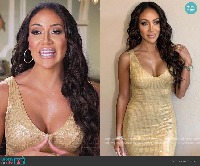Gold Metallic Dress by Envy worn by Melissa Gorga  on The Real Housewives of New Jersey