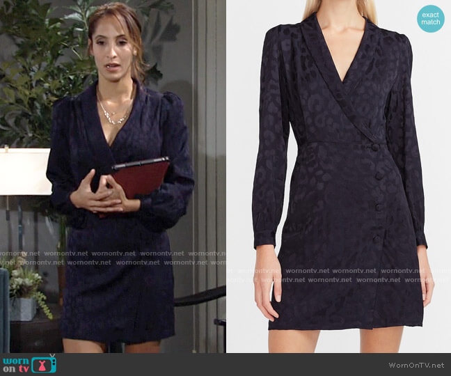 Express Leopard Jacquard Blazer Dress worn by Lily Winters (Christel Khalil) on The Young & the Restless