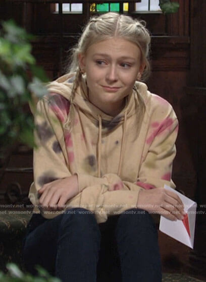 Faith's tie dye hoodie on The Young and the Restless