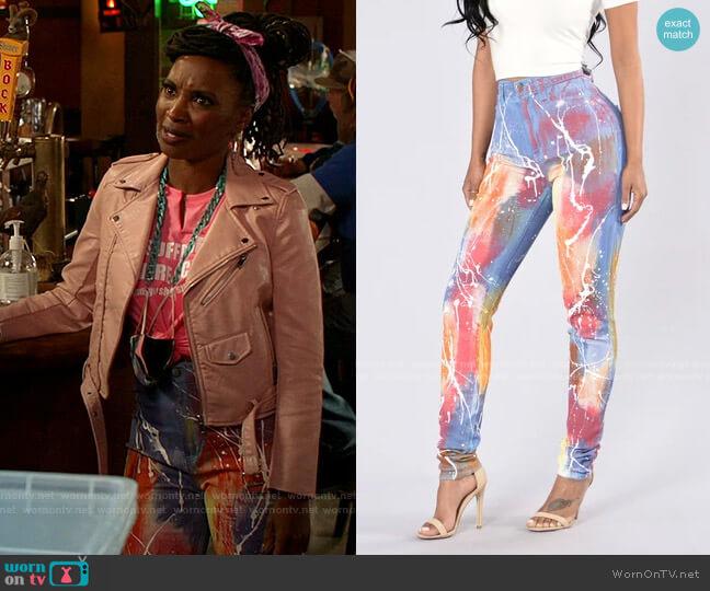 Somewhere Over The Rainbow Jeans by Fashion Nova worn by Veronica Fisher (Shanola Hampton) on Shameless