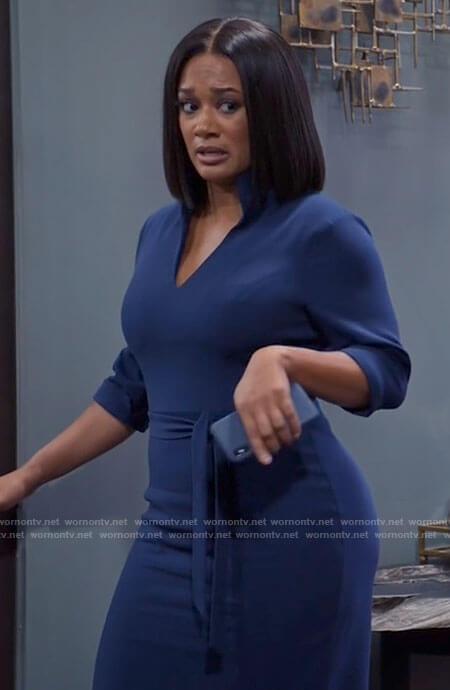 Andi's blue satin long sleeved dress on Tyler Perrys Sistas