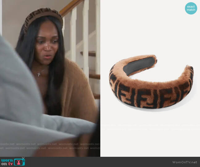 Printed Shearling Headband by Fendi worn by Marlo Hampton on The Real Housewives of Atlanta