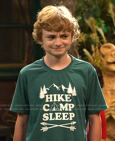 Finn's green Hike Camp Sleep print tee on Bunkd