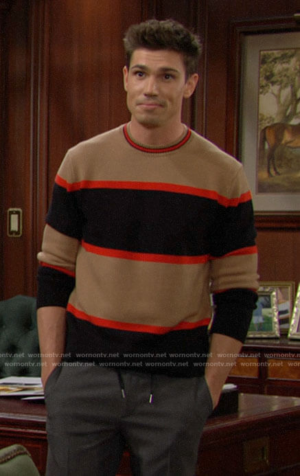 Finn's tan, red, and black striped sweater on The Bold and the Beautiful
