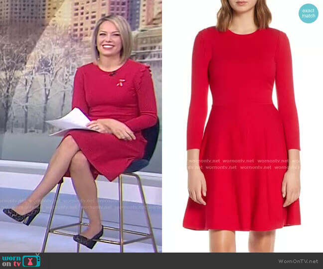 Fit & Flare Sweater Dress by Eliza J worn by Dylan Dreyer  on Today