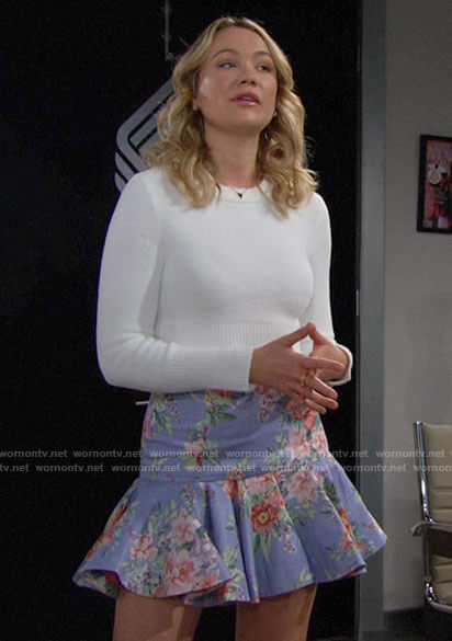 Flo's blue floral skirt and white cropped sweater on The Bold and the Beautiful