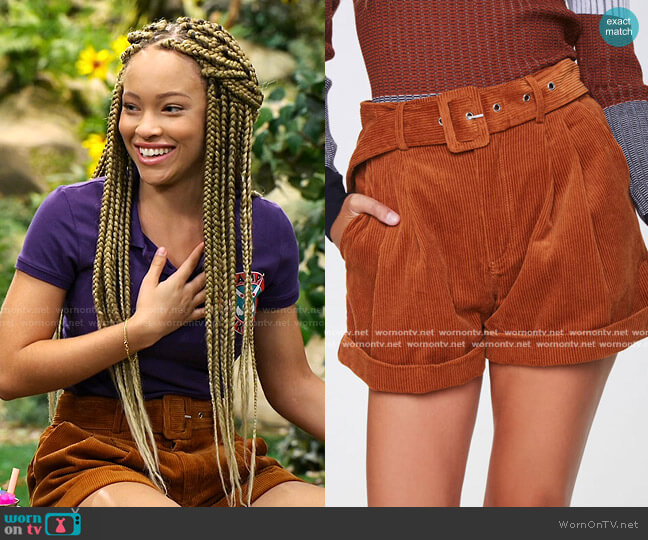 Belted Corduroy Shorts by Forever 21 worn by Ava (Shelby Simmons) on Bunkd