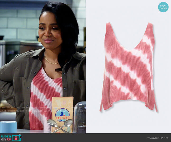 Forever 21 Ribbed Tie-Dye Tank Top in Rose worn by Randi (Kyla Pratt) on Call Me Kat