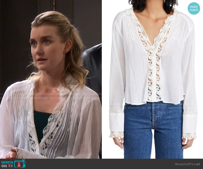 Clemence Button Down Shirt by Free People worn by Claire Brady (Isabel Durant ) on Days of our Lives
