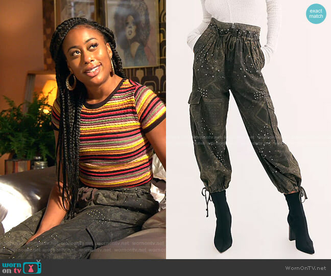 Fly Away Studded Parachute Pant by Free People worn by Malika Williams (Zuri Adele) on Good Trouble